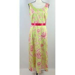 Coldwater Creek Green Pink Floral Sleeveless Dress